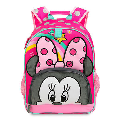 Disney Store Deluxe Minnie Mouse Pink Black Polka Dot Cute Girls Backpack NEW