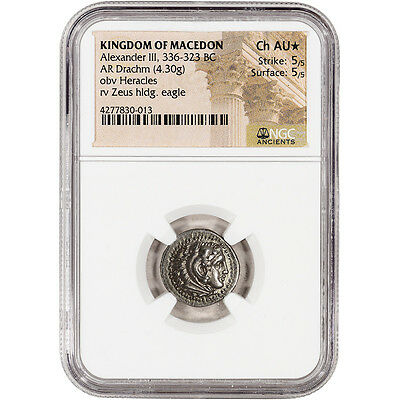 336 - 323 BC Kingdom of Macedon AR Drachm Ancient Silver Coin -  NGC Ch AU* Star