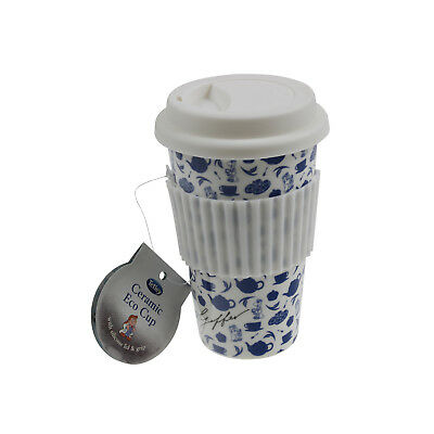 Tetley Eco Ceramic White Travel Coffee Drink Mug Cup With Silicon Wrap And Lid