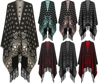 New Ladies Reversible Aztec Knitted Pattern Tassel Top Cape Shawl