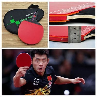 Carbon Fiber Table Tennis Paddle Racket Ping Pong Rubber Handle w/ Training Bag