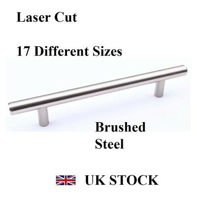 Brushed Steel T-Bar Handle Kitchen Cabinet Drawer Cupboard Wardrobe Bedroom