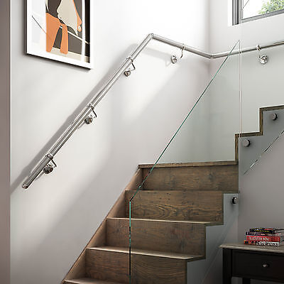 3.6mtr Chrome Metal Wall Mounted Handrail / Banister + all Fittings