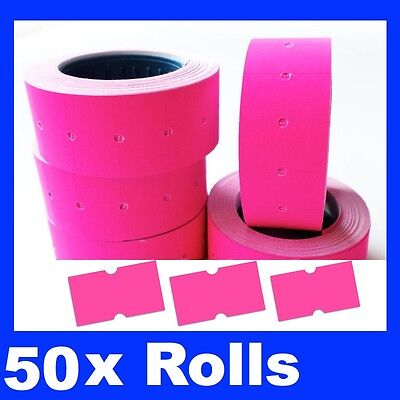 50 Fluro Fluoro  Pricing Price Tag Tagging Gun Label Rolls Bulk Pink