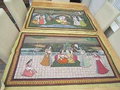 antique pair of indian rat mughal islamic old silk paintings 33 1/2 x21 3/4 inch