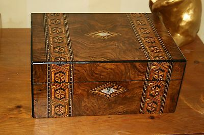 Antique Victorian Tunbridge Ware Marquetry Large Mahogany Box Sewing Jewellery