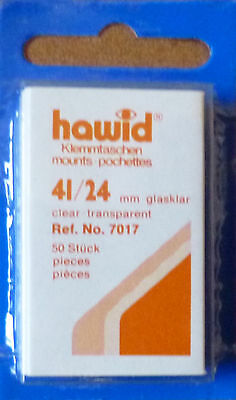 HAWID STAMP MOUNTS CLEAR Pack of 50 Individual 41mm x 24mm - Ref. No. 7017