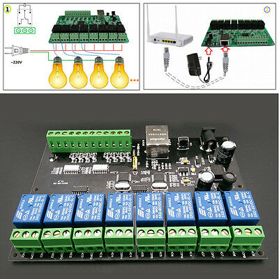 8 Way Network Relay IP/Ethernet Access Controller Modbus TCP 8 In 8 Out Switch