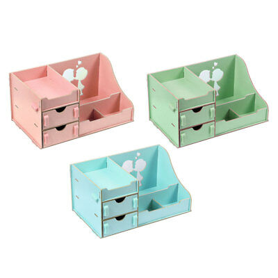 Wood Desktop DIY Cosmetic Jewelry Organizer Makeup Storage Holder 29x18x14cm