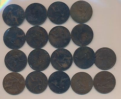 Great Britain Large  Penny - Some Really Old  - 18 Coins