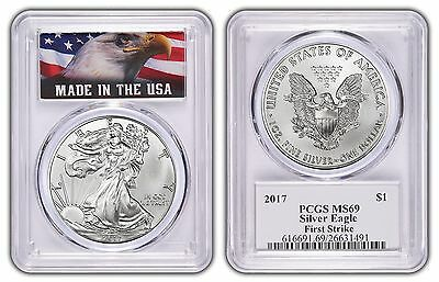 2017 1oz Silver Eagle PCGS MS69 - First Strike - Made In USA Label