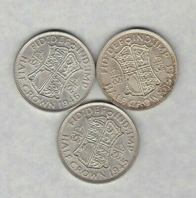 1943 & 1946 George Vi 50% Silver Half Crowns In Extremely Fine Condition