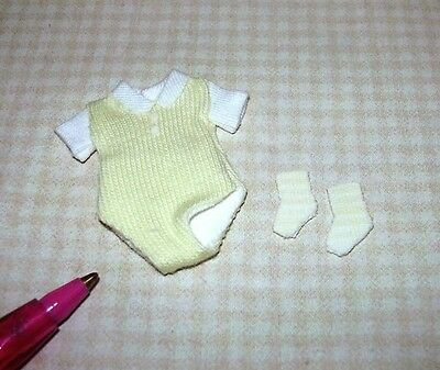 Miniature Baby Clothes w/Striped Socks, YELLOW: DOLLHOUSE Miniatures 1/12 Scale