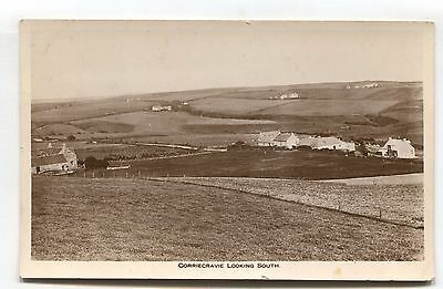 Corriecravie, Bute - looking South - cottages, fields - old real photo postcard