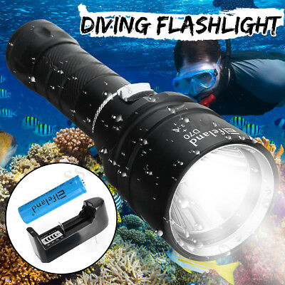 30000LM T6 LED Flashlight 100M Underwater Diving Scuba Torch Light+18650+Charger
