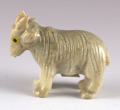 Miniature Hand Carved Soapstone Stone Goat Figurine Made In Peru - Chipped Horn