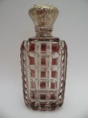 Rare Antique Deep Purple Overlay Glass Perfume/scent Bottle S/ Silver Lid  C1880