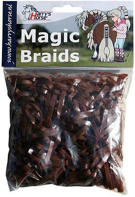 Harry's Horse Magic Braids Plaiting Elastic Bands - Brown REUSABLE Harry's Horse
