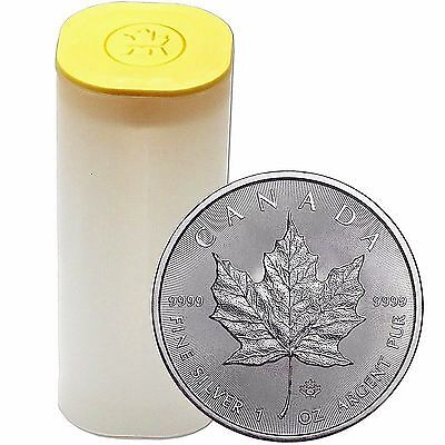 Tube of 25 - 1 oz. 2016 Silver Canadian $5 Maple Leaf Coins - .9999 Fine