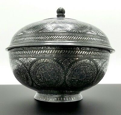 ANTIQUE 18th/19th Century INDIA BIDRIWARE SILVER INLAY LIDDED BOWL