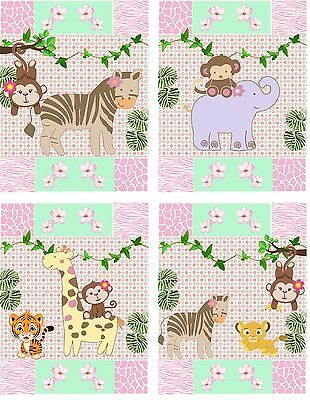 Jungle Jill Jacana Nursery Girl Art Prints Set of 4 8 X 10 (8 x 10 prints)