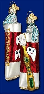 Toothpaste & Brush Old World Christmas Glass Dental Dentist Ornament Nwt 32128