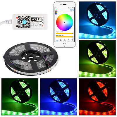 5M 5050 150/300LEDs SMD Strip Light + Wifi RGBW Controller APP for iOS Android