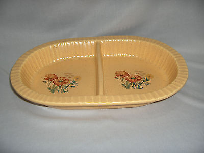 Vintage Treasure Craft Pottery Divided Bakeware Oven Microwave Yellow Dish MINT