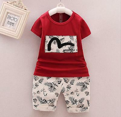 Kids Baby boys summer Clothes T shirt &short Pants 2PCS outfits leaf red 2-3 T