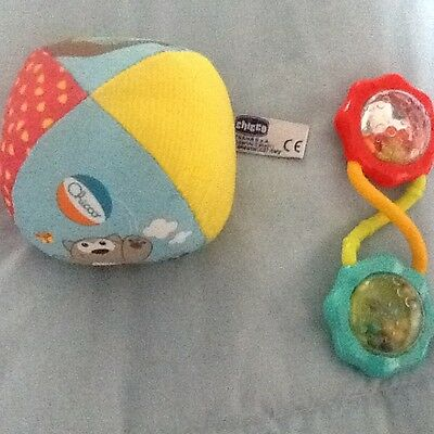 baby Bright start rattle and Chicco soft toy