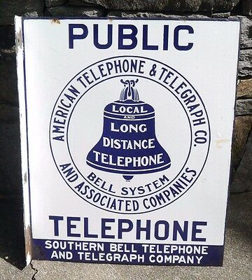 Early AT&T Public Telephone Telegraph Porcelain 2 Side Flange Sign SOUTHERN BELL
