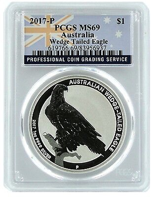 2017 Australia 1oz Silver Wedge Tailed Eagle PCGS MS69 - Flag Label