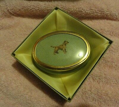 Border Terrier Small Porcelain Trinket Jar with Cross Stitched Insert LAST ONE!