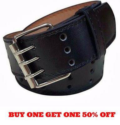 Men's Women's Genuine Leather Three Prong Triple Row Holes Casual Black Belt