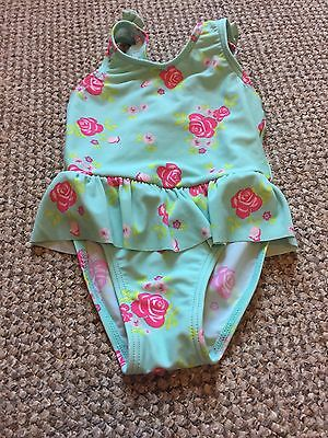 Baby Girls Green Floral Swimsuit 12-18 Months Used Good Condition