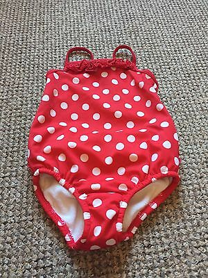 Baby Girls Polka Dot Swimsuit 12-18 Months M&S Used Good Condition