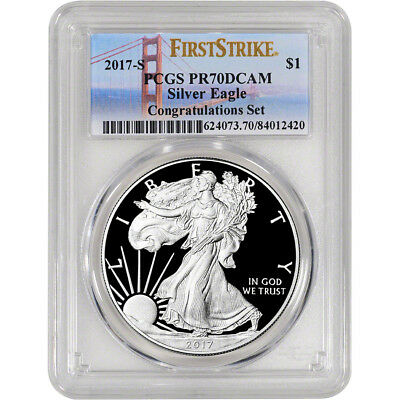 2017-S American Silver Eagle Proof - PCGS PR70 - First Strike Golden Gate Label