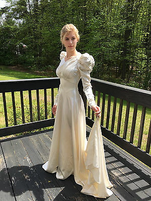 Old Hollywood Antique 1930s Ivory Silk Satin Wedding Gown Bridal Dress Gibson