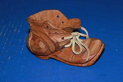 Vintage Hand Carved Wooden Shoe With Leather Lace