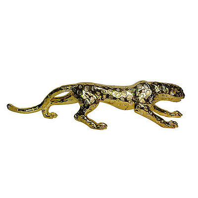 Vintage Ceramic Gold Plated Art Sculpture Statue Leopard Statue Wild Cat,31''L