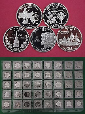 Roll of 40 2000 S Proof State Quarters Deep Cameo 8 Of Each State In Flips