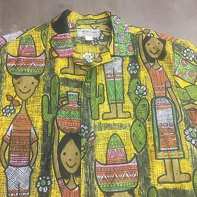 Vintage 1950'S CARTOON SIESTA COTTON ROCKABILLY HAWAIIAN SHIRT - M