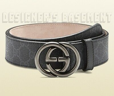GUCCI black gray 48-120 GG Supreme gun metal INTERLOCKING G buckle belt NWT Auth
