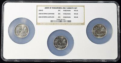 2004-D Wisconsin Quarter 3 Coin Extra Leaf Set - NGC MS64