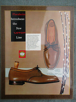 VINTAGE 1950s FLORSHEIM TAN LEATHER LOTOP MEN'S SHOES STORE DISPLAY SIGN