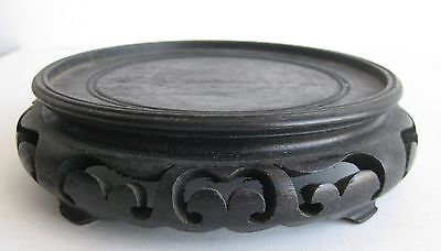 Fine Old Chinese Carved Lacquer Wood Stand for Porcelain Bowl or Ceramic Vase