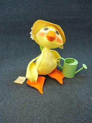 """Annalee Doll Duck w/ Watering Can Spring Easter Garden 12"""" tall #1552 New (b222)"""