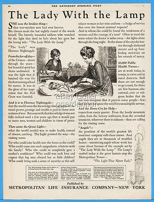 1922 Metropolitan Life Insurance NY Lady With The Lamp Florence Nightingale Ad