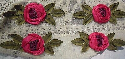 4 Vintage Silk Pink Rose Appliques Dress Hat Trim Original Gauze Backing