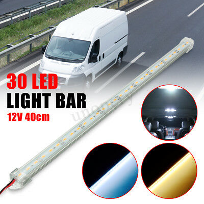 1/2X 12V 40cm 30 LED SMD Interior Light Strip Bar Lamp Car Van Caravan Fish Tank